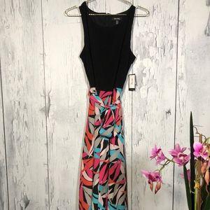 Nine West Black/Multicolor Maxi Dress Sz 14 NWT